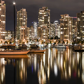 Vancouver by Cory Bohnenkamp - City,  Street & Park  Skylines ( water, skyline, vista, boats, reflections, burrard inlet, night, vancouver, city )