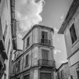 Old Buildings by Savvas Gerolemou - Buildings & Architecture Architectural Detail ( town, buildings, old town, black and white, tower )