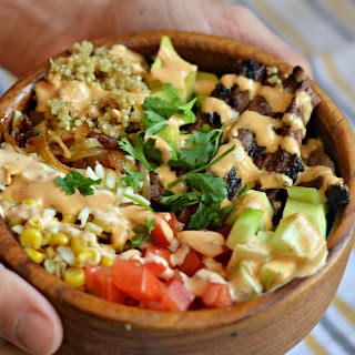 Carne Asada Quinoa Bowl with Creamy Chipotle Lime Dressing