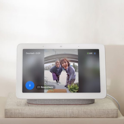 A Nest display with footage from doorbell.