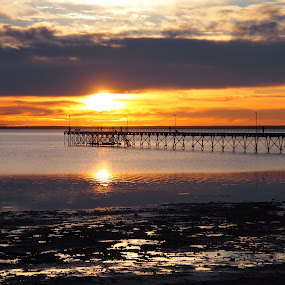 Sunset in Ceduna by Pamela Howard - Novices Only Landscapes ( water, orange, reflection, sky, ceduna, sunset, sea, jetty, sun, beah )