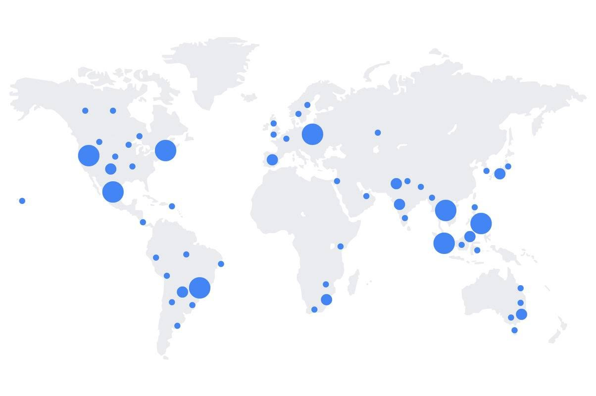 A static map of the world shows at a high level the number of Google Educator Groups all over the world.