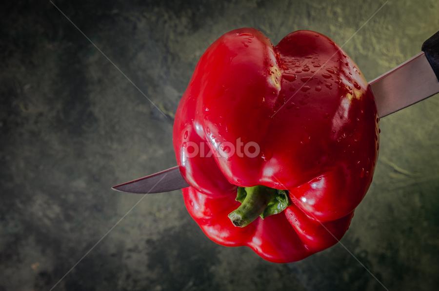 Pepper by Marius Radu - Food & Drink Fruits & Vegetables ( pepper, raw food, red, knife, vegetable )