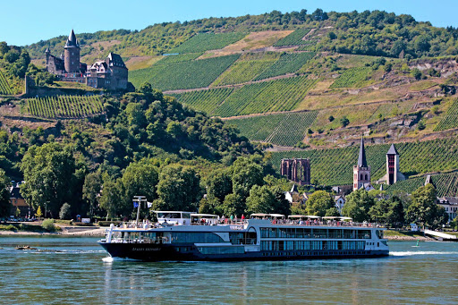 Avalon Artistry II passes Stahleck Castle, a 12th-century fortified castle in the Upper Middle Rhine Valley, Germany.