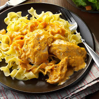 Creamy Chicken Thighs & Noodles.