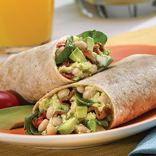 Avocado and White Bean Breakfast Wrap.