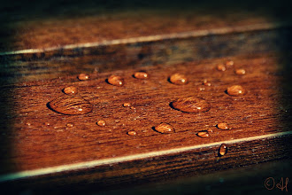 Photo: Droplets on wood