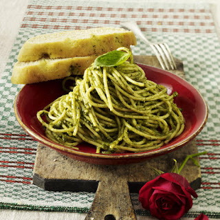 Spaghetti with Green Pesto and Basil Focaccia