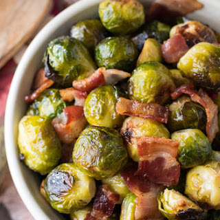 Oven Roasted Brussels Sprouts with Bacon.