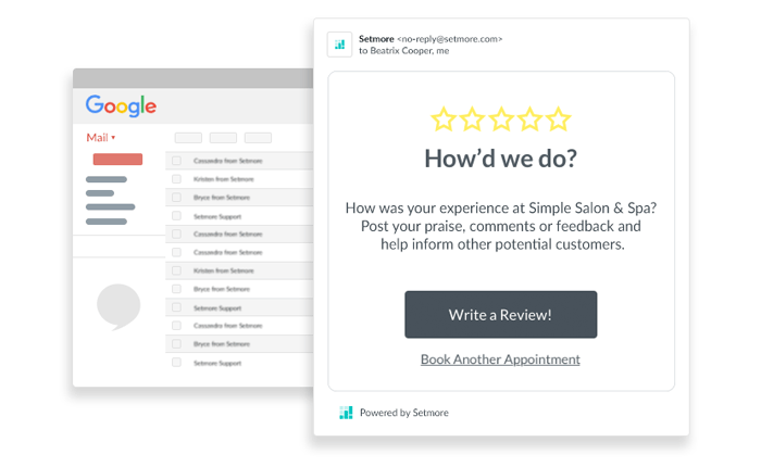 "Setmore ""Request for Review"" email template"