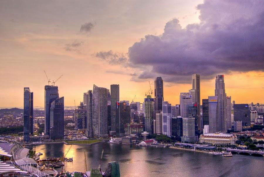 Sunset Singapore Skyline by Sabina Marszal - City,  Street & Park  Skylines