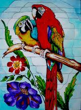Photo: 113, Нетронина Наталья, Попугайчики, Витражные краски, контуры, фольгированный карто н(витражные картины), 35х28см,