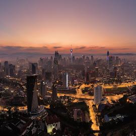 Kuala Lumpur Sunrise by Edwin Ng - City,  Street & Park  Skylines ( kl, sunrise, klcc, kualalumpur, cityscape, skyscraper, skyline, kuala lumpur, malaysia )