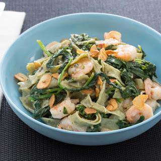Lemon & Black Pepper Shrimp with Fresh Linguine di Cavolo & Fava Leaves