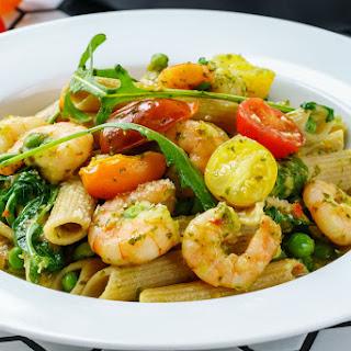 Shrimp Pasta with Pesto and Cherry Tomatoes Recipe