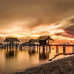 by Jerry ME Tanigue - Backgrounds Nature ( port, water, calm, reflection, post, scape, hut, beach, tree trunk, occidental mindoro, slow shutter speed, holiday, tranquil, sky, vacation, serene, sunset, peebles, sablayan, long exposure, resort, philippines, relax, relaxing, tranquility )