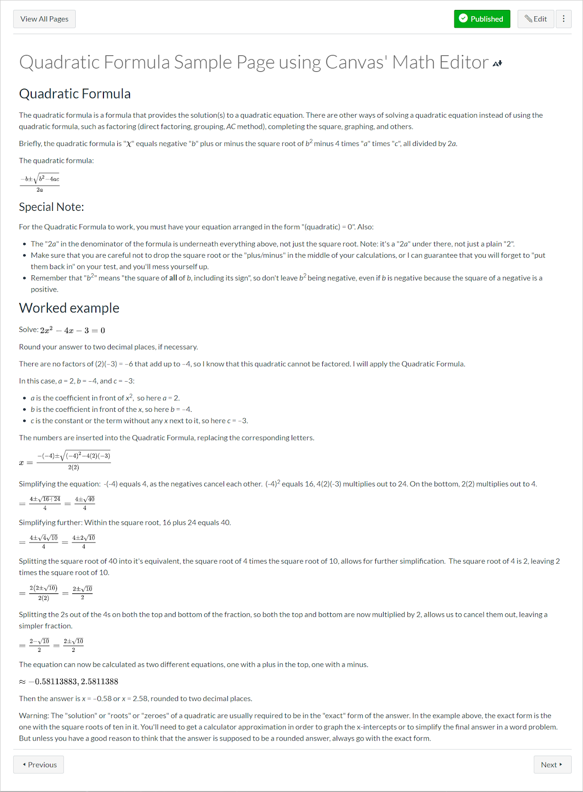 Canvas page that provides additional textual description of how to solve a mathematical equation step-by-step.