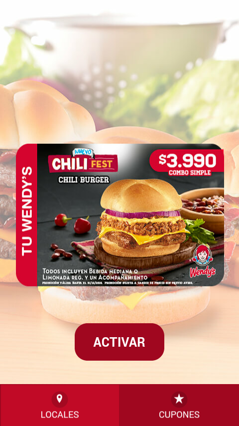 Wendy´s Chile: captura de pantalla