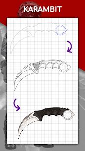 كيفية رسم الأسلحة خطوة بخطوة ، واستخلاص الدروس 6