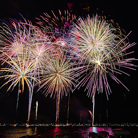 Bang Bang by Bob White - Abstract Fire & Fireworks ( fireworks loud explode lake color love,  )