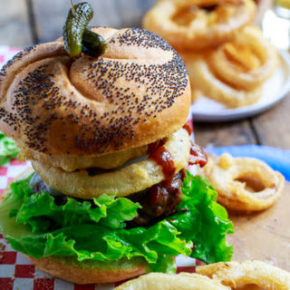 Cowboy Burgers topped with Onion Rings