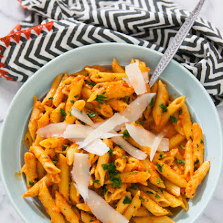 Roasted Red Pepper Pasta with Goat Cheese.