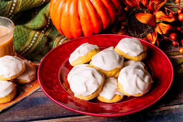A Plate Of Pumpkin Ricotta Cookies.