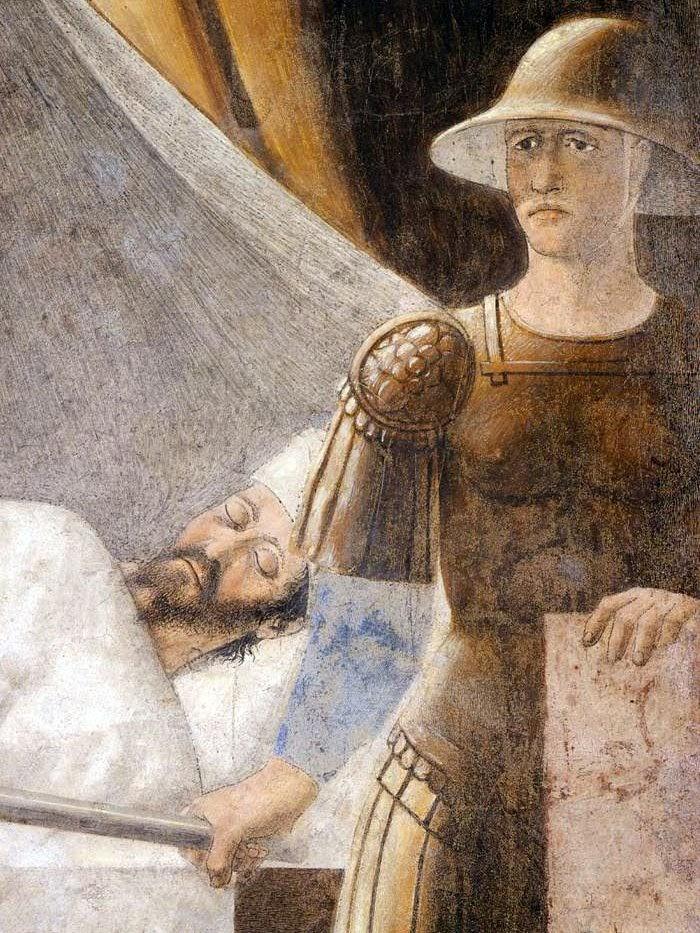 Piero della Francesca, Sogno di Costantino (De droom van Constantijn), particolare soldato e  l'imperatore Costantino addormentato, le Storie della Vera Croce, Basilica di San Francesco, Arezzo