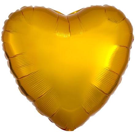 Folieballong, hjärta guld 43 cm