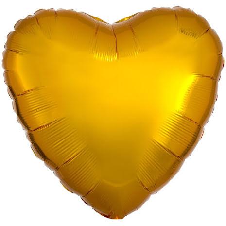 Folieballong, hjärta metallic guld 43 cm