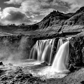 Kirkjufellsfoss in B&W by Jen St. Louis - Black & White Landscapes ( snaefellsnes, waterscape, waterfall, kirkjufell, iceland, landscape, kirkjufellsfoss,  )