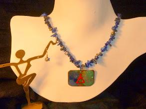 Photo: <BEREHYNYA> {Great Goddess Protectress} unique one-of-a-kind statement jewellery by Luba Bilash ART & ADORNMENT  MLADA – МЛАДА - copper enamel pendant, sodalite, rose gold vermeil SOLD/ПРОДАНИЙ