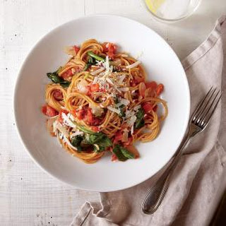 One-Pot Pasta with Spinach and Tomatoes.