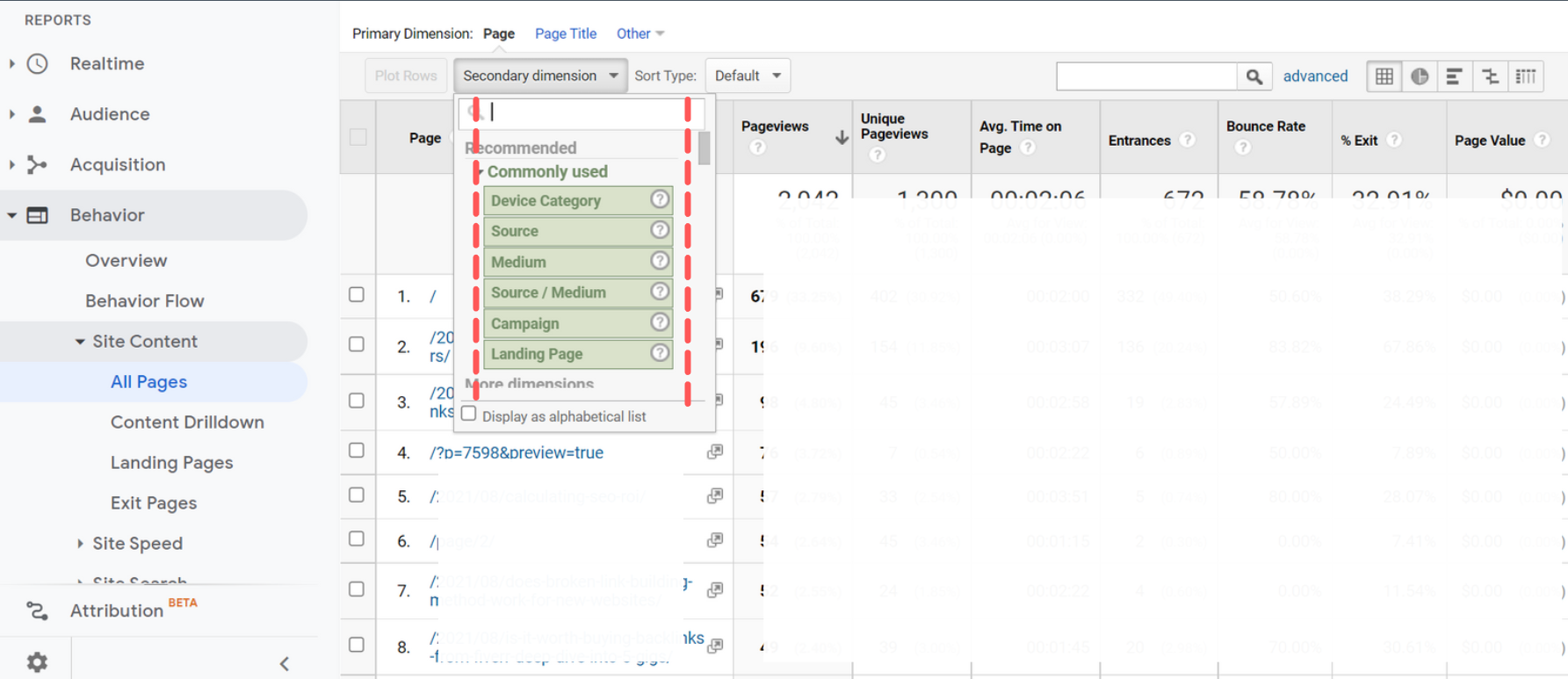Google Analytics For SEO - Secondary Dimensions
