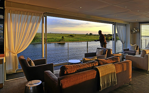 The lounge on the Zambezi Queen offers incredible views.