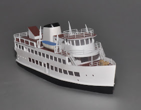 Photo: Z Scale Harbor Cruise Ship—The Port Welcome of Baltimore, 125' (7 inches) long. Available as a kit for $150 or Built Up for $550.