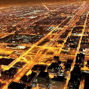Chicago at night by Mili Shrivastava - City,  Street & Park  Night ( , Urban, City, Lifestyle )