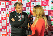 Orlando Pirates coach Mlutin Sredojevic conducts his post-match TV interview following his side's 1-1 Absa Premiership draw against AmaZulu at King Zwelithini Stadium in Durban on October 6, 2018.