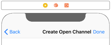 Create Open Channel View Controller B has a UITextField which presents the channel URL and a Button that presents another view controller to selects users to be operators