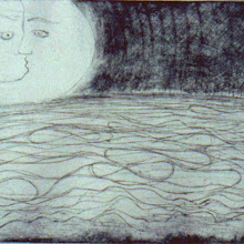 Photo: detail of etching 'dream tides' 1995