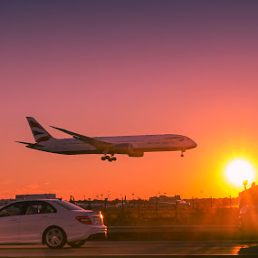New York Airport by Manoj Nair Manickath - Landscapes Travel ( airport, aeroplane, travel, road, landscape )