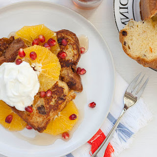 Panettone French Toast With Orange And Pomegranate.