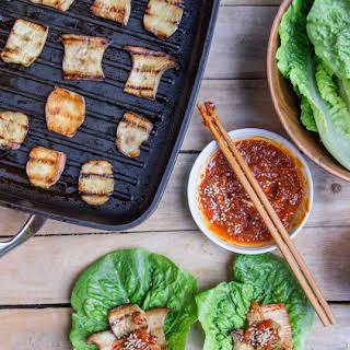 Korean Grilled King Oyster Mushroom Wraps.