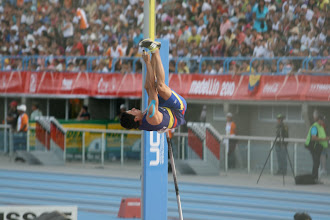 Photo: The progression of a pole vault: Heels over head