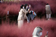 Women take a photograph of a pink muhly grass field amid the coronavirus disease (COVID-19) pandemic at a park in Hanam, South Korea, October 13 2020.