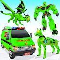 Flying Ambulance Dog Robot Car Game icon