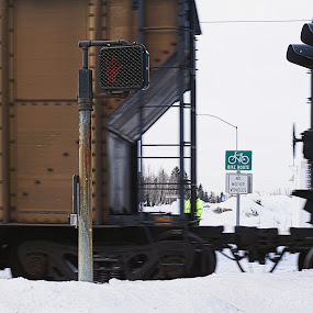 Rolling Car by Julio Cardona - Transportation Trains ( cars, seasons, places, signs, alaska, posts, photography, lights, train )