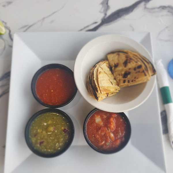 Salsa trio with grilled corn tortillas instead of fried! Soooo good!