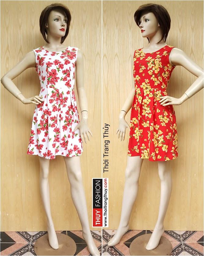 Váy xòe xếp ly họa tiết hoa đỏ trắng vàng đỏ V407