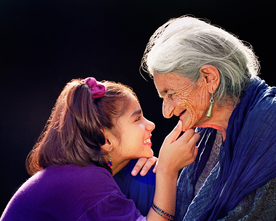 Endearment by Nayyer Reza - People Family ( color, wrinkled face, mom and 'kid', old woman, nayyer, people, mom with kids, portrait, human, emotion, reza )